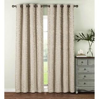 Window Elements Alpine Textured Woven Leaf Jacquard Grommet 84-inch Curtain Panel Pair