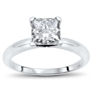 Noori 14k White Gold 3/4ct TDW Princess Cut Solitaire Diamond Engagement Ring