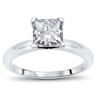 Certified Noori 14k Gold Enhanced 1ct TDW Princess-cut Solitaire Diamond Engagement Ring - White G-H