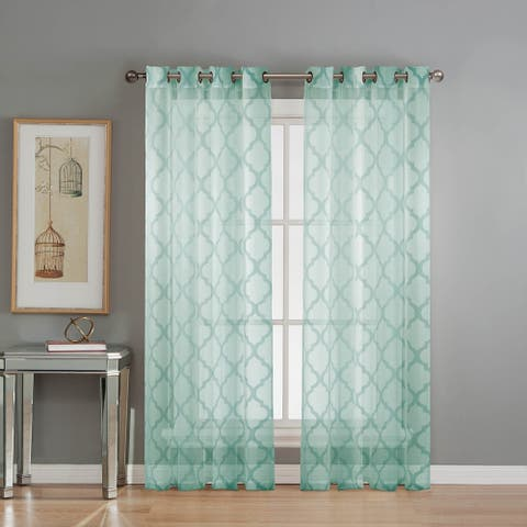 Window Elements Lattice Cotton and Polyester 84-inch Burnout Sheer Curtains (Set of 2) - 76 x 84