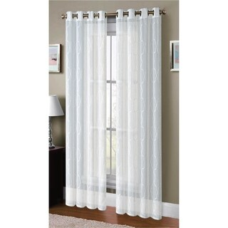 Window Elements Boho Embroidered Faux Linen Sheer 96-inch Grommet Curtain Panel Pair