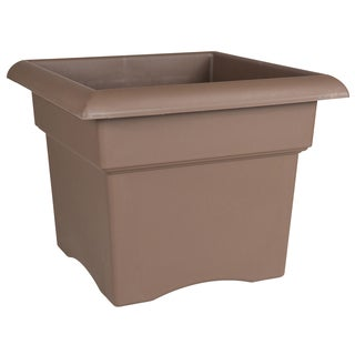 Bloem Veranda Deck Box Planter, 14-inch, Peppercorn Grey
