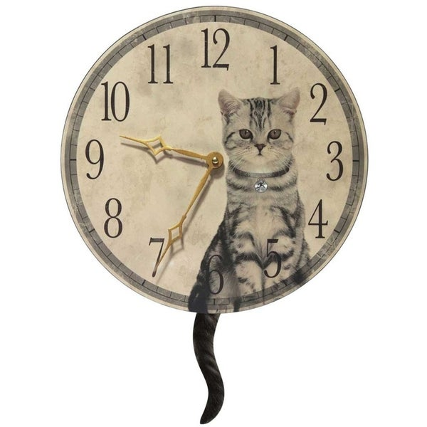 Infinity Instruments 'Purrfect Timing' Beige Wood and Aluminum 13.5-inch Round Wall Clock