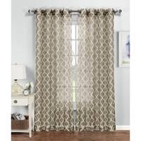 Window Elements Quatrefoil Multicolored Polyester 84-inch Grommet Curtain Panel