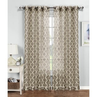 Window Elements Quatrefoil Multicolored Polyester 84-inch Grommet Curtain Panel (5 options available)