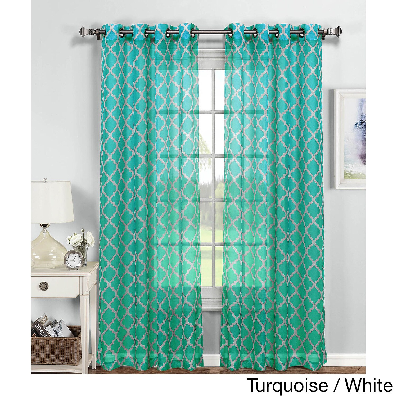 Window Elements Quatrefoil Multicolored Polyester 84-inch...