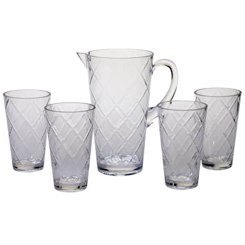 Certified International Diamond Clear Acrylic Drinkware Set, Pack of 5