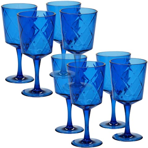 Certified International Solid Cobalt All-purpose Goblets, Pack of 8