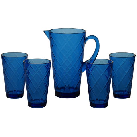 Certified International Diamond Cobalt Blue Acrylic Drinkware Set (Set of 5)