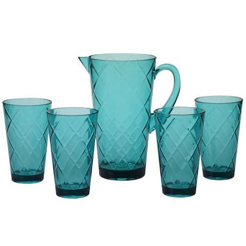 Certified International Teal Acrylic Diamond Drinkware 5-piece Set