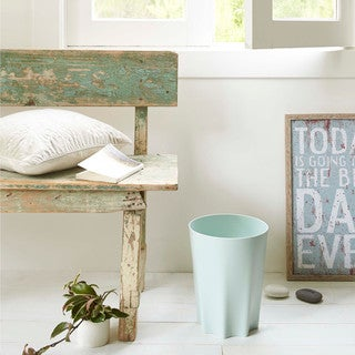 Wind White/ Mint Trash Can by Yamazaki Home