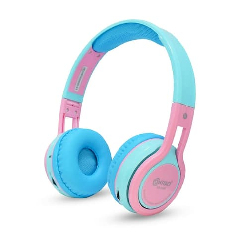 Contixo KB-2600 Kid-Safe Volume Limiting Over-the-Ear Wireless Bluetooth Headphones Pink