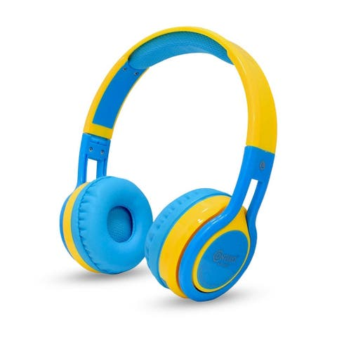 Contixo KB-300 Kid Safe 85DB Blue & YellowWireless Bluetooth LED Headphone with Volume Limiter, Microphone, and FM Radio