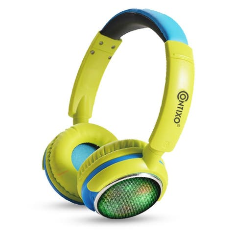 Contixo KB-300 Kid-safe 85DB Over-the-ear Foldable Wireless Bluetooth LED Kids Headphones Green