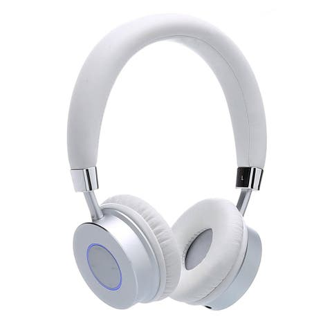 Contixo KB-200 Premium Kids Bluetooth Wireless White Headphones with Volume Limit Controls 85dB and Microphone