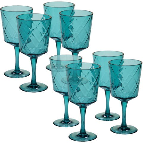 Certified International Teal Diamond Acrylic 13-ounce All-purpose Goblet Set (Pack of 8)