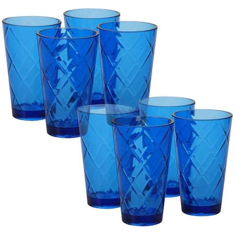 Certified International Diamond Cobalt Blue Acrylic 20-ounce Ice Tea Glasses (Pack of 8)
