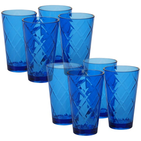Certified International Diamond Cobalt Blue Acrylic 20-ounce Ice Tea Glasses (Pack of 8)