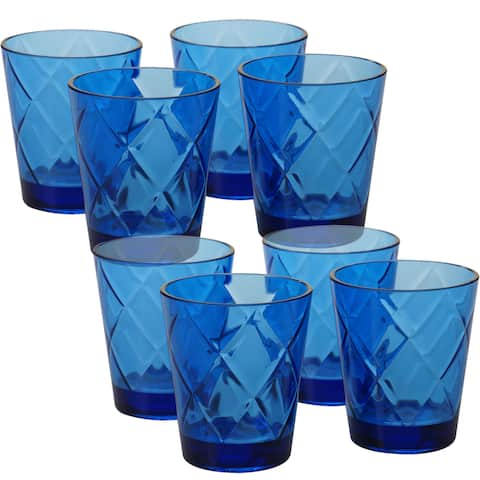 Certified International Cobalt Blue Acrylic 15-ounce Diamond Double Old-fashion Glasses (Pack of 8)