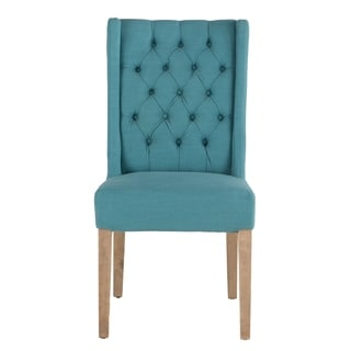 Chloe Set of 2 Teal Linen Dining Chairs