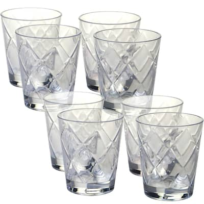 Certified International Clear Diamond Acrylic 15-ounce Double Old Fashioned Glass (Pack of 8)
