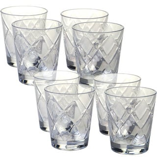 Certified International Clear Diamond Acrylic 15 Ounce Double Old Fashioned  Glass (Pack Of 8