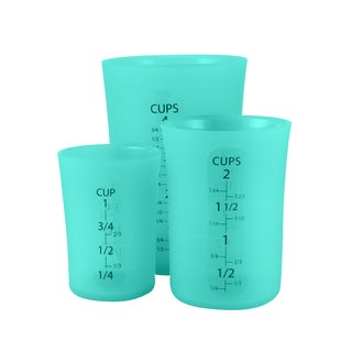 Flirty Kitchens Teal Silicone Flexible Liquid Measuring Cups (Pack of 3)