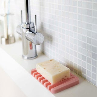 Flow White/ Pink/ Green/ Black Self Draining Silicone Soap Tray by Yamazaki Home