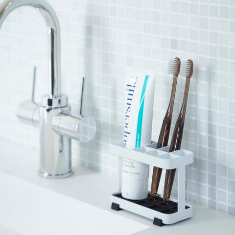 Tower White/ Black Steel Toothbrush Stand by Yamazaki Home