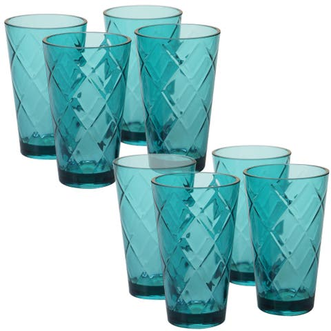 Certified International Teal Diamond Acrylic 20-ounce Ice Tea Glass (Pack of 8)