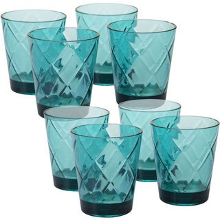 Certified International Blue Acrylic 15-ounce Double Old Fashion Glasses (Pack of 8)