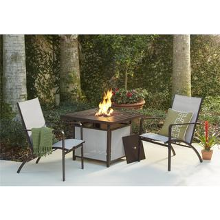 COSCO Outdoor Living 3-piece Stone Lake Brown Patio Conversation Set with Propane Fire Pit Table