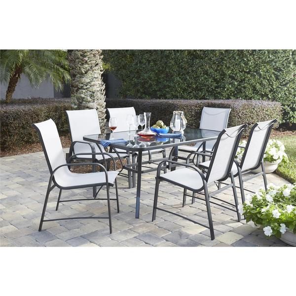 Cosco outdoor living 7 piece paloma steel grey patio for Glass top outdoor dining table