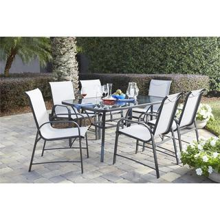 COSCO Outdoor Living 7-piece Paloma Steel Grey Patio Dining Set with Tempered Glass Table Top
