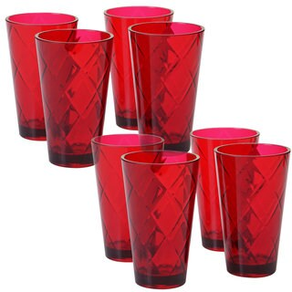 Certified International Red Acrylic 20-ounce Iced Tea Glasses (Pack of 8)