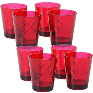 Certified International Red Acrylic 15-ounce Double Old Fashion Glasses (Pack of 8)