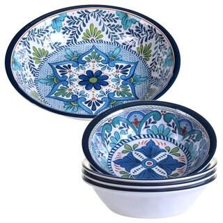 Certified International Talavera Blue Melamine Salad/Serving Set (Pack of 5)