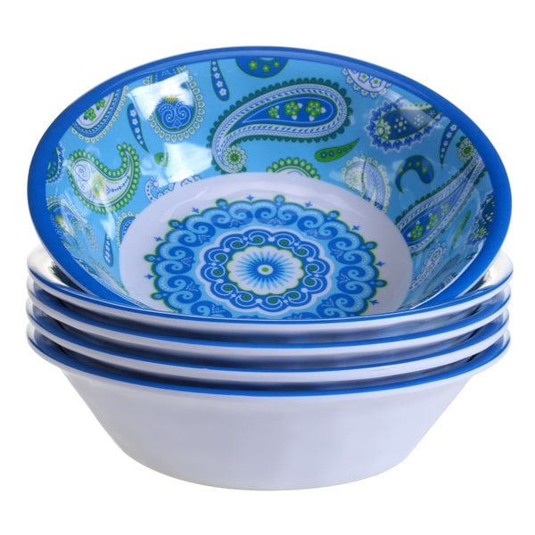 Peachy Certified International Boho Blue All Purpose Bowls Pack Of 6 Interior Design Ideas Gentotryabchikinfo