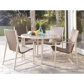 COSCO Outdoor Living Mid-Century Modern 5-piece Monterey Valley Mixed Media Brown and Cream Patio Dining Set