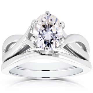 Annello by Kobelli 14k White Gold Oval 1 1/2ct Forever One DEF Moissanite Solitaire Bridal Set