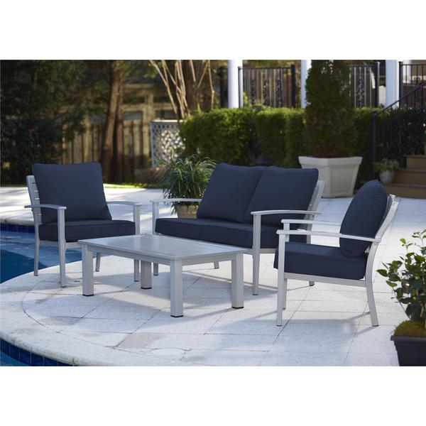 Cosco Outdoor Living 4 Piece Blue Veil Brushed Aluminum Patio Furniture Conversation Set With Cushions