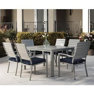 COSCO Outdoor Living 7-piece Blue Veil Brushed Aluminum Patio Furniture Dining Set with Cushions