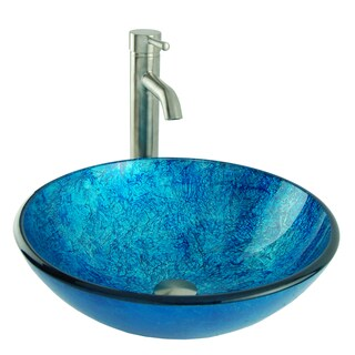 Ocean Foil Glass Vessel Sink in Blue with Vessel Faucet and Drain