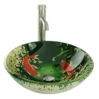 Koi and Lily Pond Glass Vessel Sink in Green with Vessel Faucet and Drain