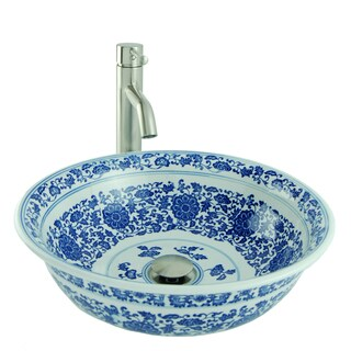 Painted Round Porcelain Vessel Sink in Blue and White with Vessel Faucet and Drain