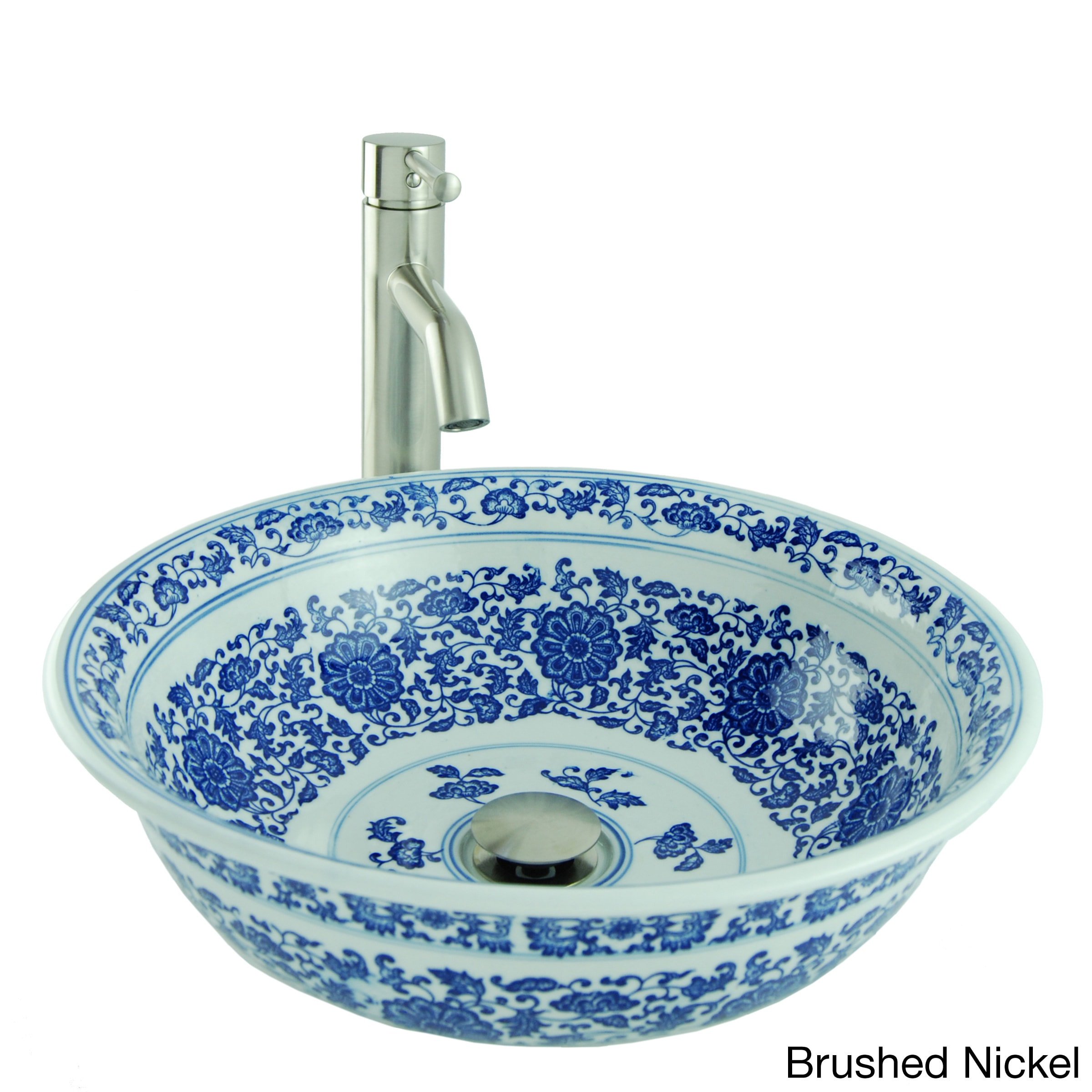 Painted round porcelain vessel sink in blue and white with - White porcelain bathroom fixtures ...