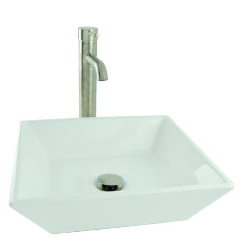 Shallow Square Porcelain Vessel Sink in White with Vessel Faucet and Drain