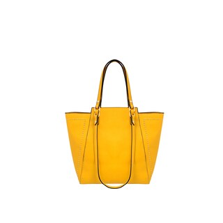 Mellow World Marina Yellow Faux Leather Studded Tote Bag