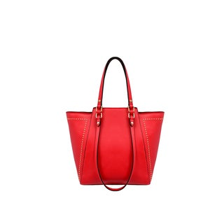 Mellow World Marina Red Faux Leather Studded Tote Bag