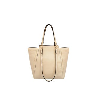 Mellow World Marina Beige Faux Leather Studded Tote Bag